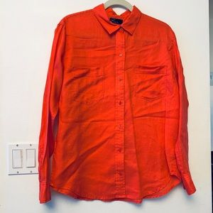 Gap Bright Pink Linen Button Down Too Blouse L